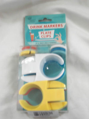 Mulberry Markers - NEW IN BOX  6 DRINK MARKERS and PLATE CLIPS