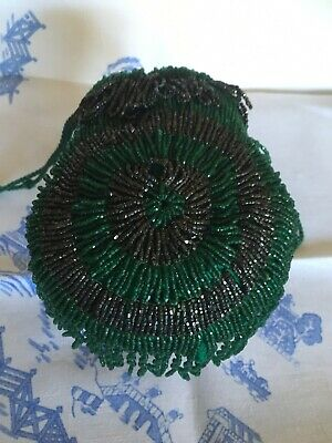 Vintage Green And Black Beaded Evening Bag