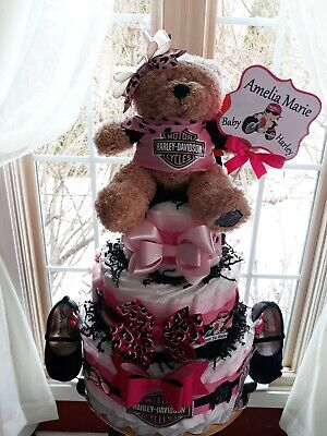 Theme 3 Tier Diaper Cake With Ballerina Baby Shoes  (Harley Davidson Theme)