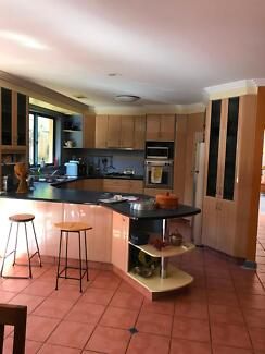 kitchen cabinets, oven and gas stove top