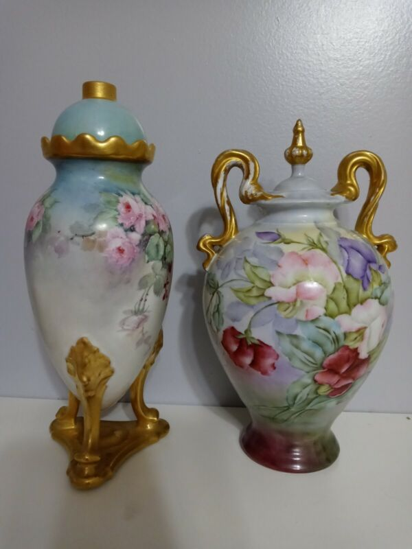 2 ANTIQUE LIMOGES HAND PAINTED FLOWER SIGNED  vase EWER URN lamp roses
