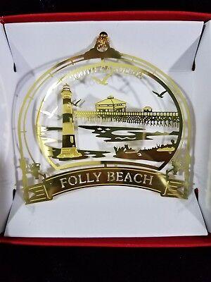 Folly Beach Brass Ornament South Carolina Pier Morris Island Lighthouse Gift