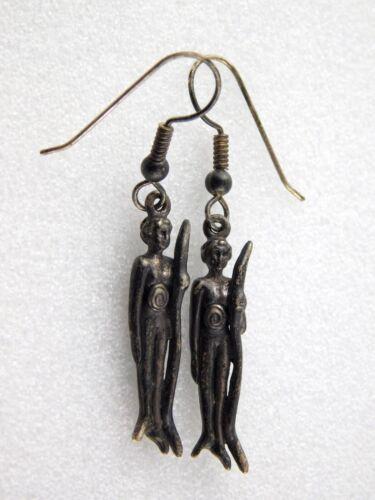 Vintage Figural Drop Pierced Earrings Nude People Swirl Stomachs K Sterling