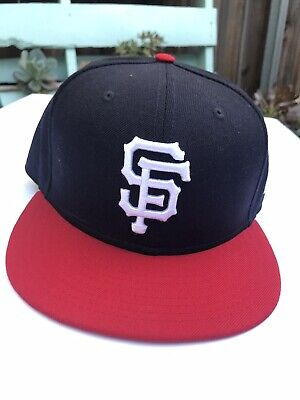 """check out 26e81 7c406 New Era 59Fifty MLB San Francisco Giants Adult 7 1 2"""" Black Red Baseball Hat"""