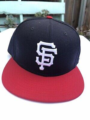 "db68a6f0fbca1 New Era 59Fifty MLB San Francisco Giants Adult 7 1 2"" Black Red Baseball Hat"