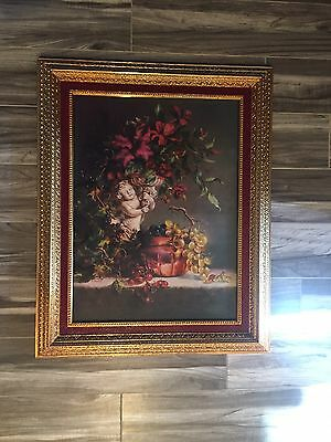 Home Interior Cherub Floral Fruit Framed wall art