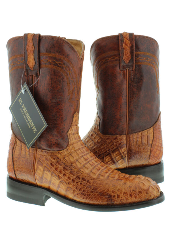 Mens, Cognac, Genuine, Crocodile, Skin, Western, Leather, Cowboy, Boots, Head, Cut, Roper