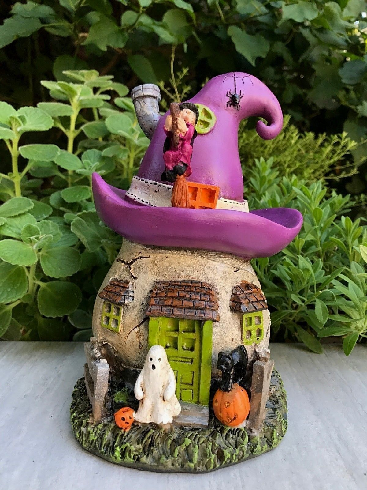 Miniatur Puppenhaus Fairy Garten ~ Halloween Hexenhut Haus W Geist & Katze ~ Neu