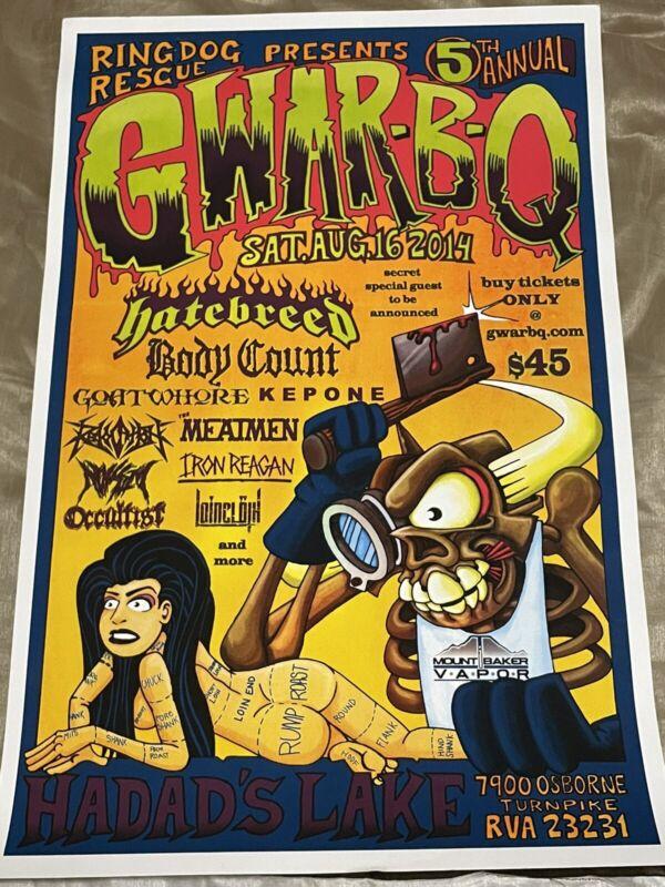GWAR-B-Q 2014 15x24 Poster Excellent Condition