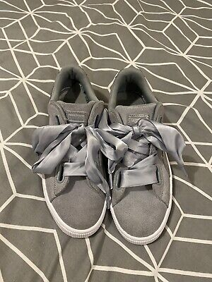 Ladies Grey Suede Puma Basket Trainers Size 6