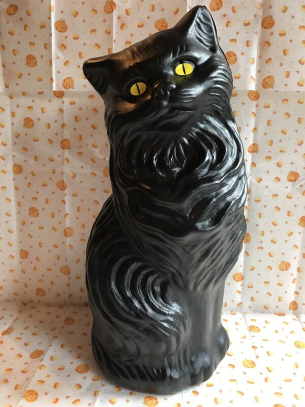 "Halloween Black Cat Bank Decoration Yellow Eyes Union Product Large 17"" Inches"