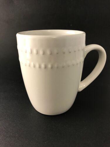 Royal Norfolk Stoneware Coffee Tea Mug cup 12 oz. White raised beaded texture