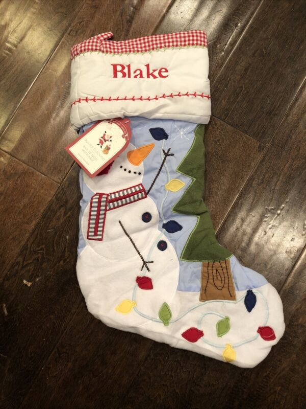 NWT Pottery Barn Kids Blue Gingham Quilted Snowman Christmas Stocking Mom Blake