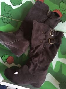 EUC wide calf wedge boot