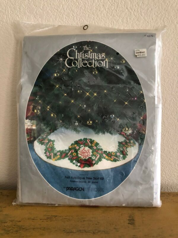 Vintage Felt Christmas Tree Skirt Candy A Sweet Noel Kit 6270 44 Inches Paragon