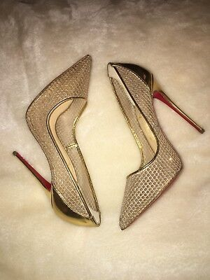 Christian Louboutin Follies Resille 120 Gold Glitter Heels Size Uk 6 Eu 39