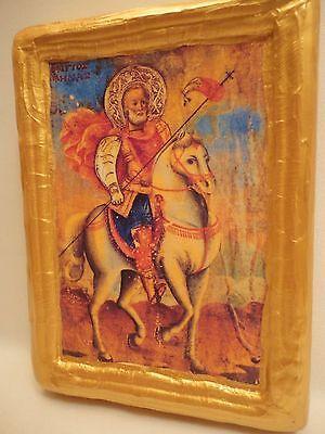 Saint Menas Agios Minas Rare Greek Eastern Orthodox Icon Ancestry Name Plaque