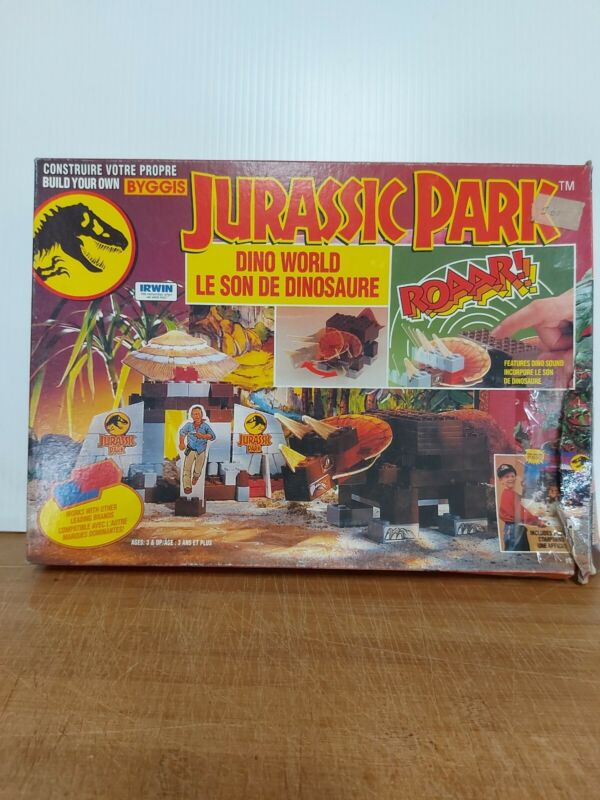 Vintage Byggis Jurassic Park Dino World Set Used In Box Complete Htf