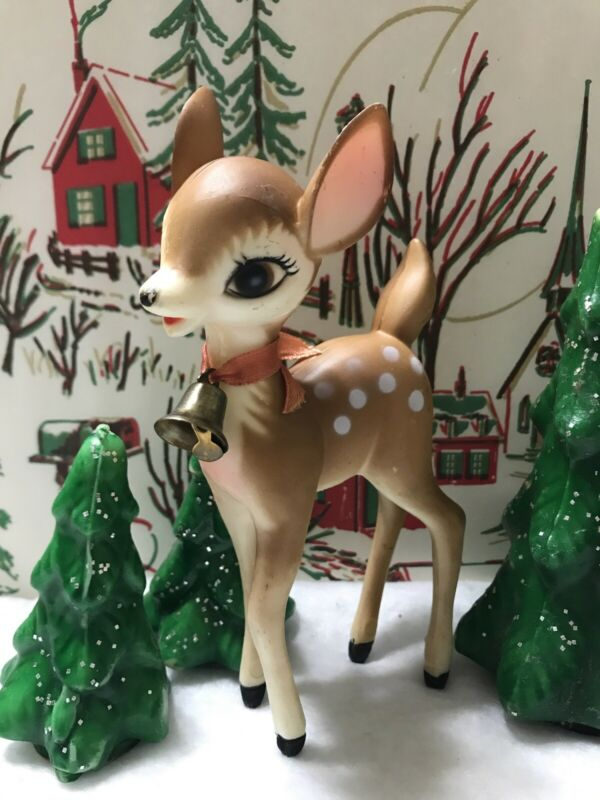 VINTAGE 1960s HARD PLASTIC BAMBI REINDEER CHRISTMAS DECORATION w/BELL HONG KONG