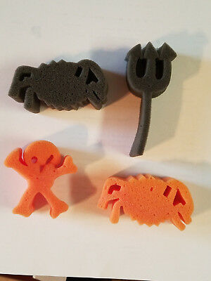 Set of Four (4) Preschool Arts And Craft Halloween Paint Sponges