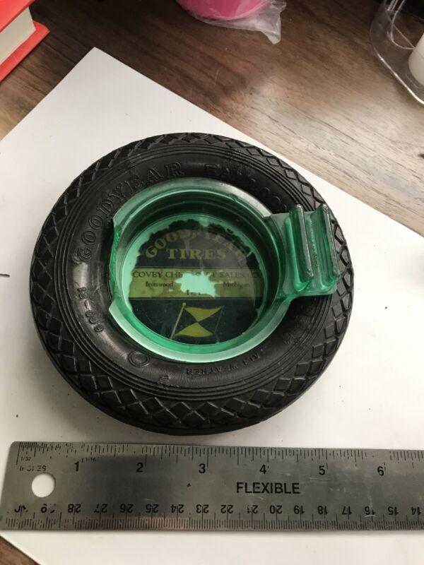 Rare Vintage Goodyear Balloon Wheel Tire Ashtray w/ Damaged insert