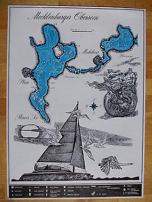 """Plakatgrafik """"Mecklenburger Oberseen"""": Plauer See von S. Dittner -  50 x 70 cm"""