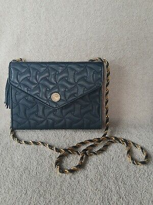 Read 1st PIERRE BALMAIN Authentic Blue Gold Crossbody Shoulder Bag Purse Vintage