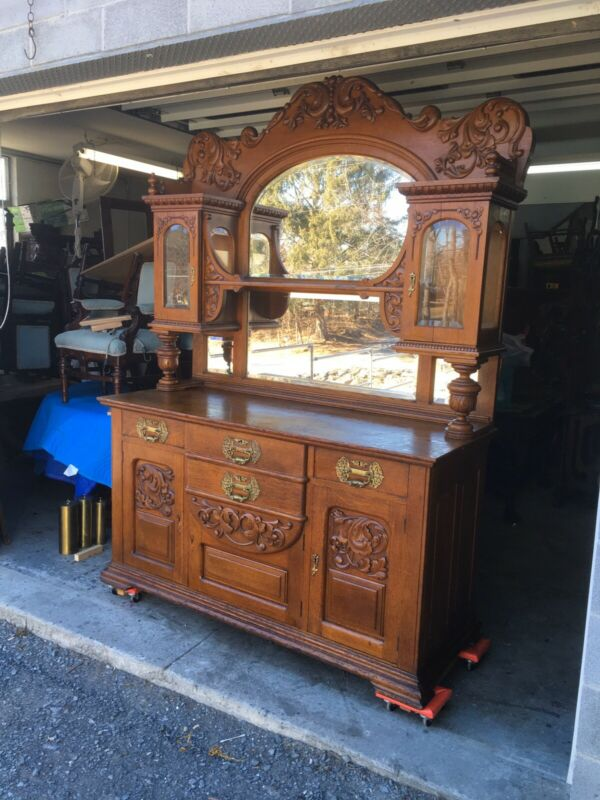 VICTORIAN CARVED OAK CURIO TOP SIDEBOARD