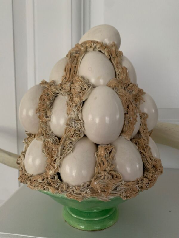 Vintage White Easter Egg Topiary Green Bowl Pottery Table Centerpiece Ceramic