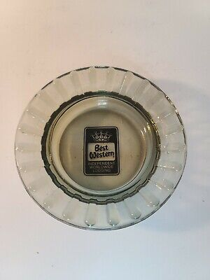 Best Western Round Smoked Glass Ashtray Vintage Advertising Hotel Room Decor