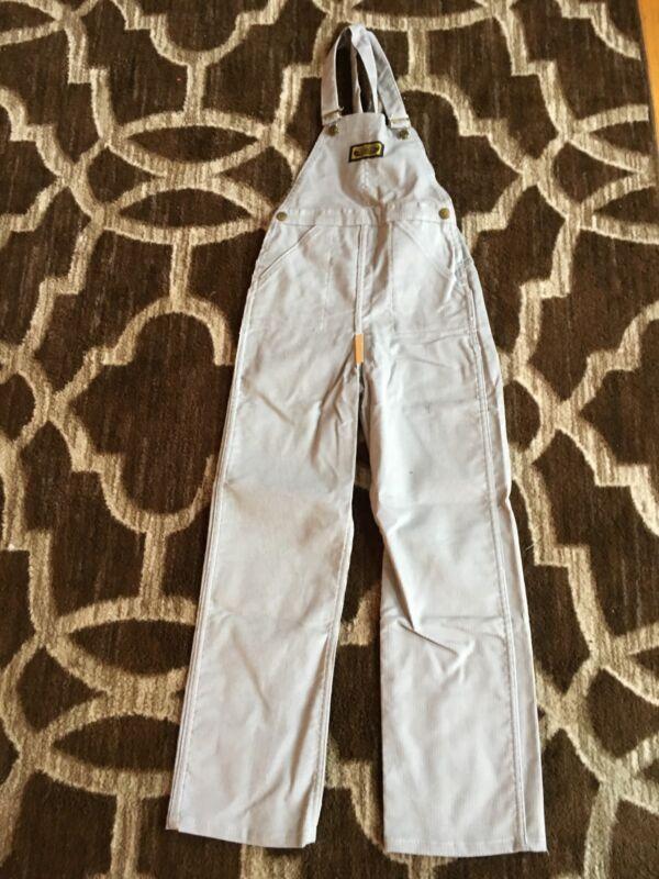 Vintage 80s Corduroy Washington Dee Cee 100% Cotton Bibs Kids 6X-7 GRAY