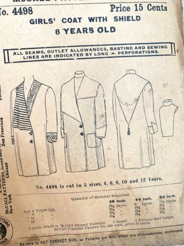 1900s Antique McCall No. 4498 Sewing Pattern Girls