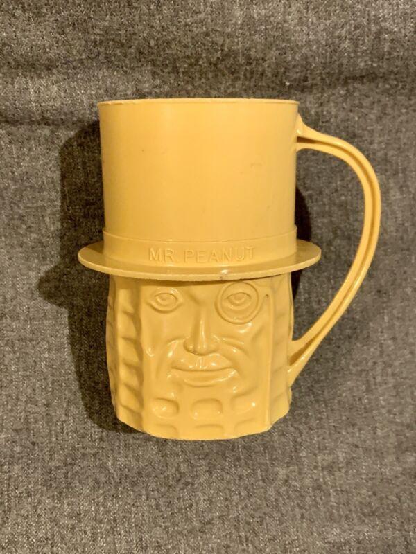 Vintage Mr Peanut Planters Peanuts YELLOW Cup Mug Plastic Rare