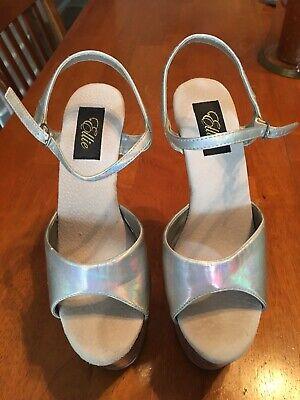 """Ellie 7"""" Silver/ Clear Sole Platform Stiletto Heels , Ankle Strap Shoes Size 8 - Ellie Platform Shoes"""