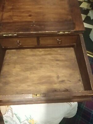 Antique Writing slope  desk oak  small portable with 2 fitted drawers inside
