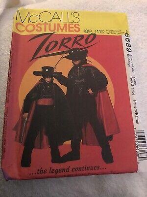 Female Zorro Halloween Costume (McCalls Zorro Costume 6689 Mens XL 46-48 Halloween Vintage 90s New)