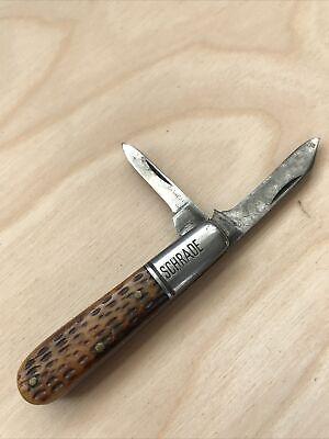 VINTAGE SCHRADE CUT CO. WALDEN NY 1903 - 1948 BONE HANDLED BARLOW KNIFE