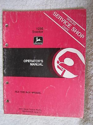 JOHN DEERE 1250 TRACTOR OPERATORS MANUAL