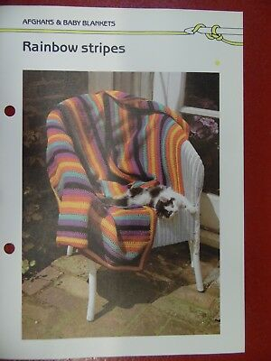 (Rainbow Stripes Afghan crochet PATTERN INSTRUCTIONS FREE SHIPPING)