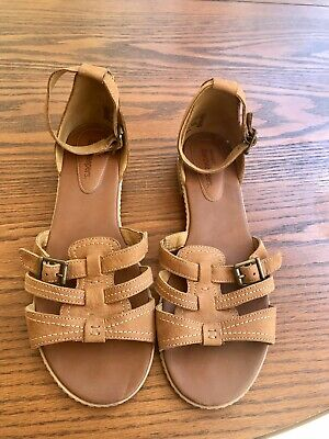 Women's Timberland Earthkeepers Beige Tan Leather Buckle Sandals Size 9.5