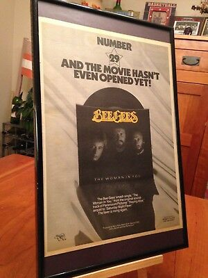 """BIG 11X17 FRAMED BEE GEES """"THE WOMAN IN YOU"""" 45 LP ALBUM CD PROMO AD + bonus!"""