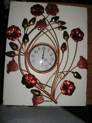 Metal Floral Wall Clock Quartz Beautiful Copper & Red Metallic Flowers 20 Tall