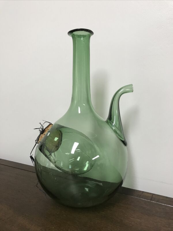 Vintage Italian Green Glass Wine Decanter Handmade Italy Italian Bottle Pitcher