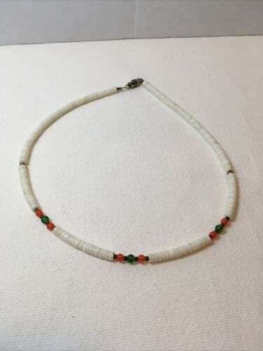 White Puka Shell W/Pink And Green Accent Beads Costume Necklace - $4.00