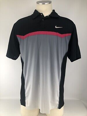 Nike DRI-Fit Tiger Woods Collection Golf Polo Mens Medium Black Gray Pink