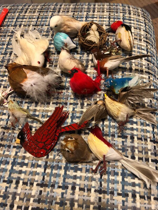 Lot Of 16 Vintage Birds For The Christmas Tree