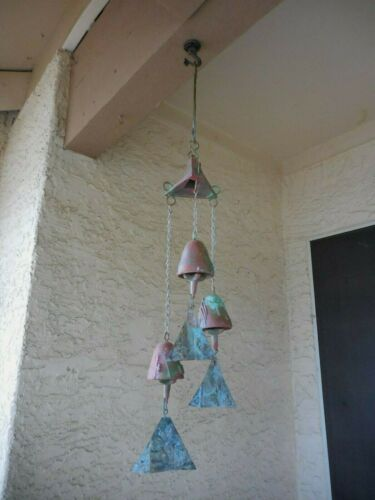 "26""* Soleri Arcosanti Patina Bronze TRIPLE CLUSTER BELL(3.5"") MCM BEAUTY B"