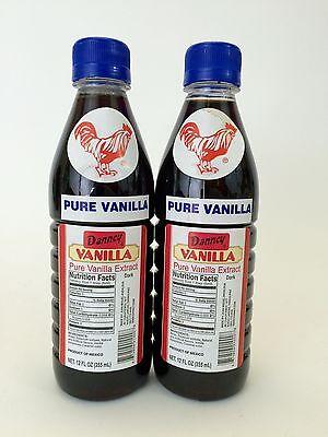 Two (2) Danncy Pure Mexican Vanilla Extract - Dark Color (12 ounces each)