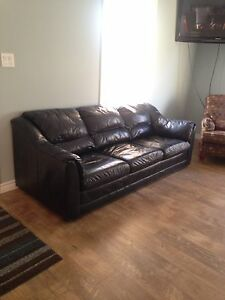 COBOURG - Blue Leather Couch