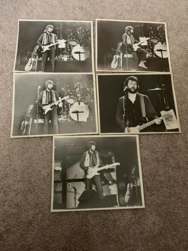 Lot of 5 Early Eric Clapton 8 x 10 photos In Black And White Drummer In Back
